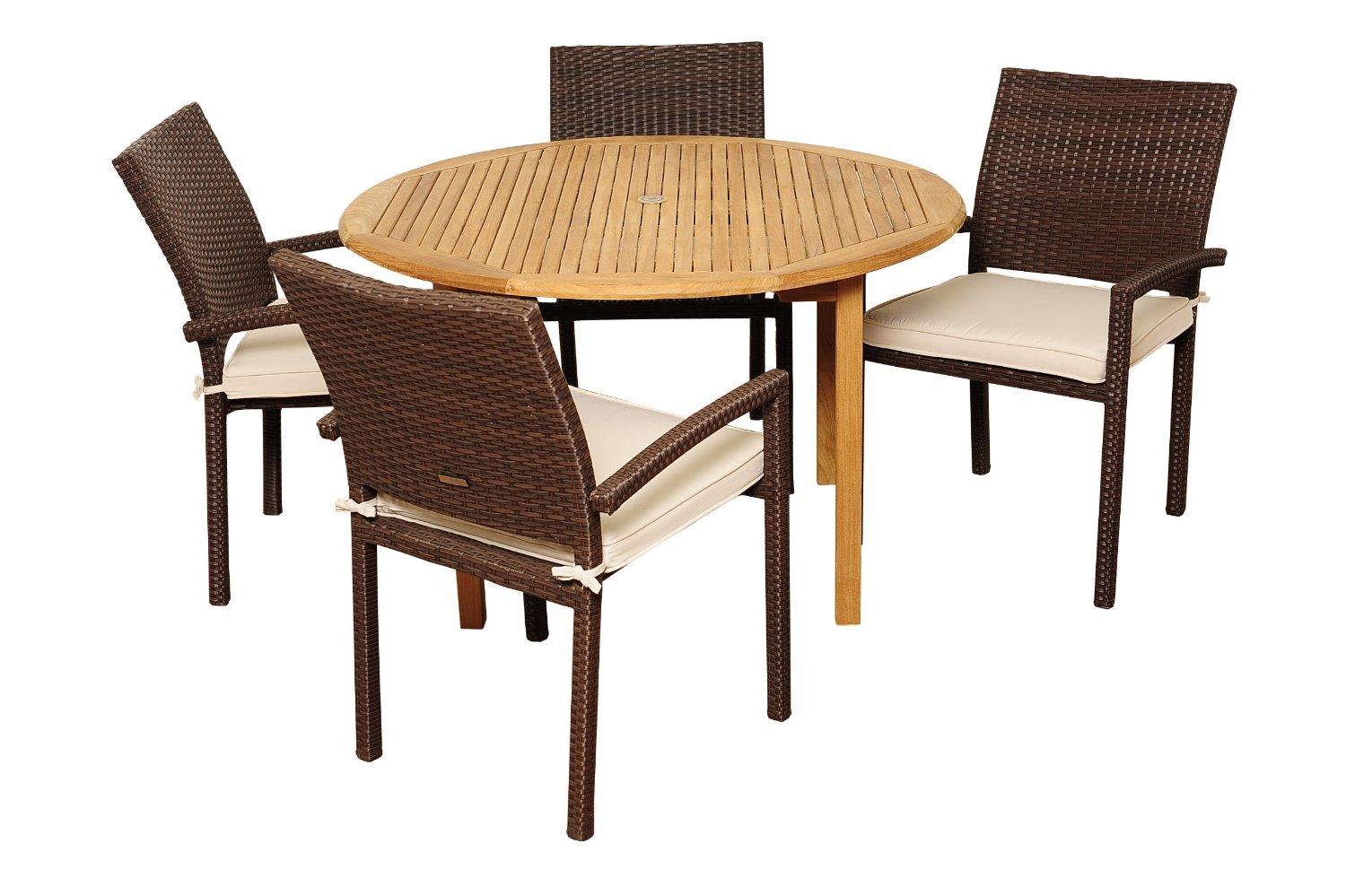 Amazonia teak colorado 5 piece teak wicker patio dining for Best dining sets